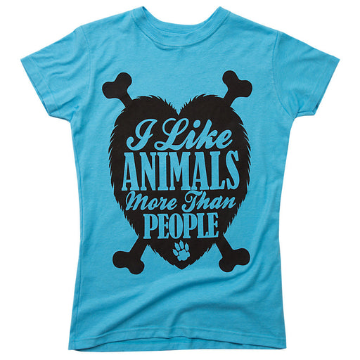 I like animals more than people womens teal