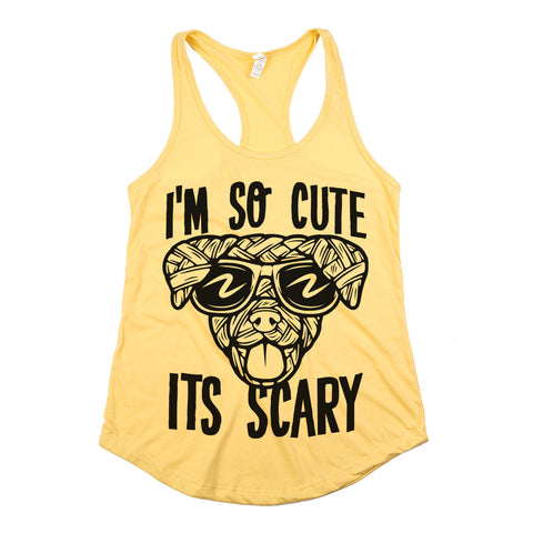 I'm So Cute It's Scary Racerback Tank Top Yellow Womens