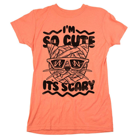 I'm So Cute It's Scary Womens JR Slim Fit Tee Coral