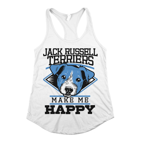 Jack Russel Terriers Make Me Happy Womens Racerback Tank Top White