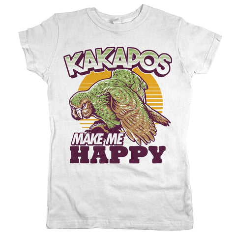 Kakapos Make Me Happy Womens Shirt White