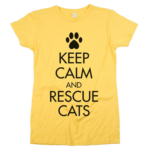 Keep Calm and Rescue Cats'	T-shirt Womens Yellow