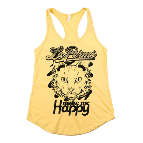Le Perms Make Me Happy Womens Racerback Tank Top Yellow