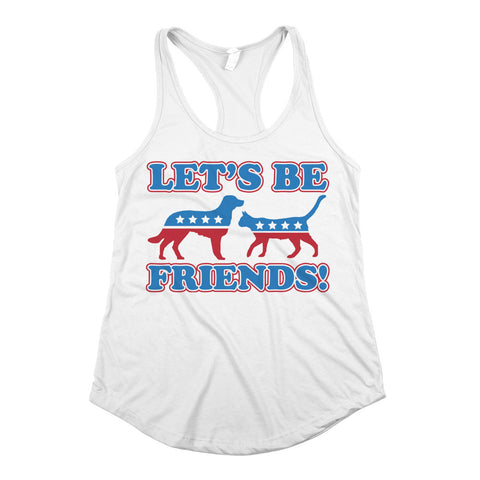 Let's Be Friends Womens Racerback Tank Top White