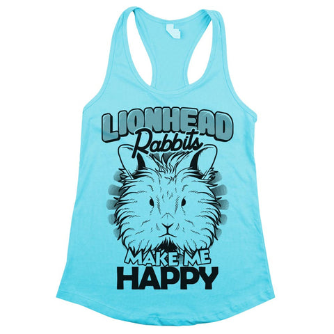 Lionhead Rabbits Make Me Happy Womens Racerback Tank Top Cancun Aqua