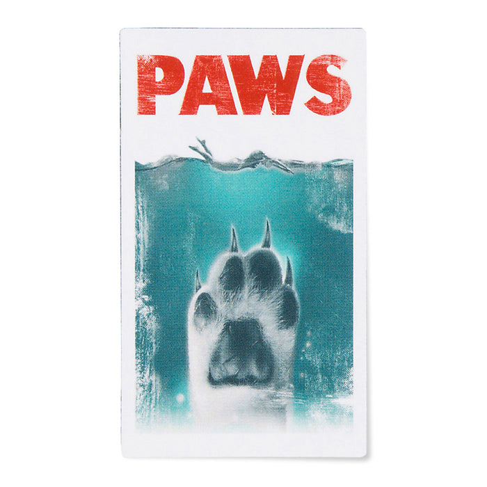 This 'Paws' (Jaws Parody) magnet is perfect for the fridge, car, or anywhere else!