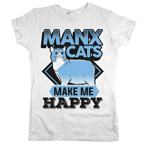 Manx Cats make Me Happy Womens JR Slim Fit Tee White