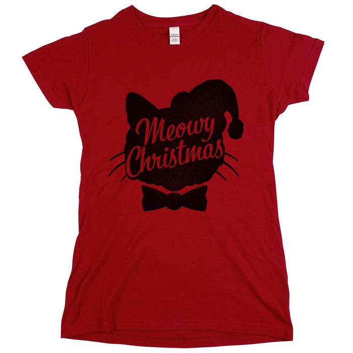 Meowy Christmas Womens JR Slim Fit Tee Red