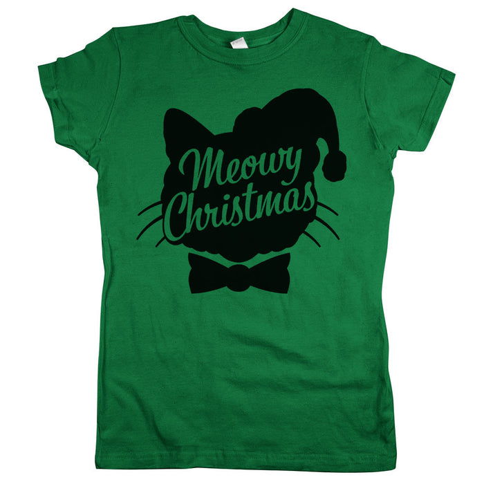 Meowy Christmas Womens JR Slim Fit Tee Kelly Green