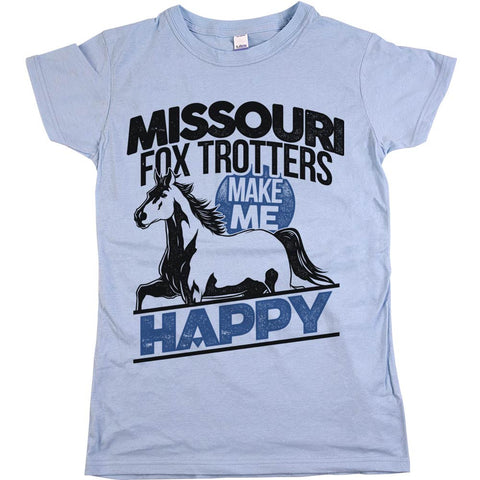 Missouri Fox Trotters Make Me Happy Womens JR Slim Fit Tee Baby Blue