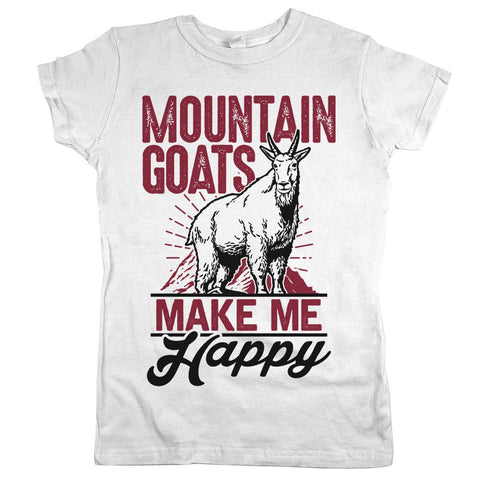 Mountain Goats Make Me Happy Womens JR Slim Fit Tee White