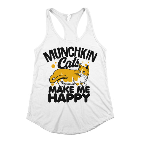 Munchkin Cats Make Me Happy Womens Racerback Tank Top White