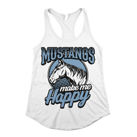 Mustangs Make Me Happy Womens Racerback Tank Top White