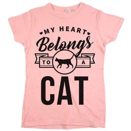 My Heart Belongs To A Cat Womens Shirt Light Pink