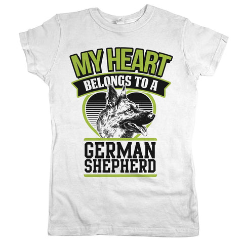 My Heart Belongs To A German Shepherd Womens JR Slim Fit Tee White