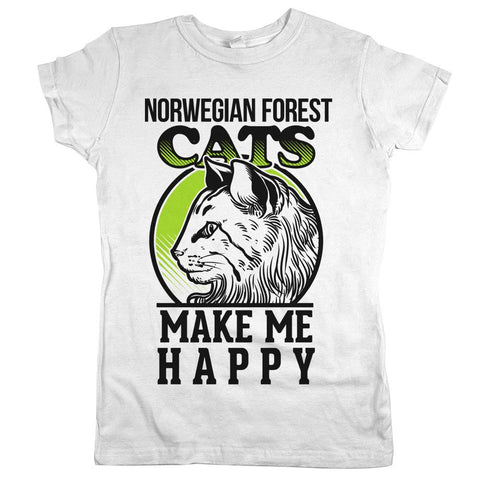 Norwegian Forest Cats Make Me Happy Womens JR Slim Fit Tee White