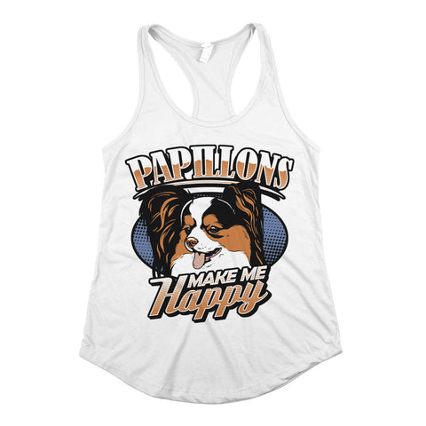 Papillons Make Me Happy Womens Racerback Tank Top White
