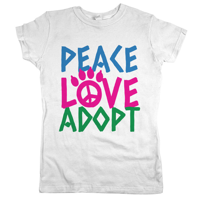 Peace Love Adopt Womens Shirt White