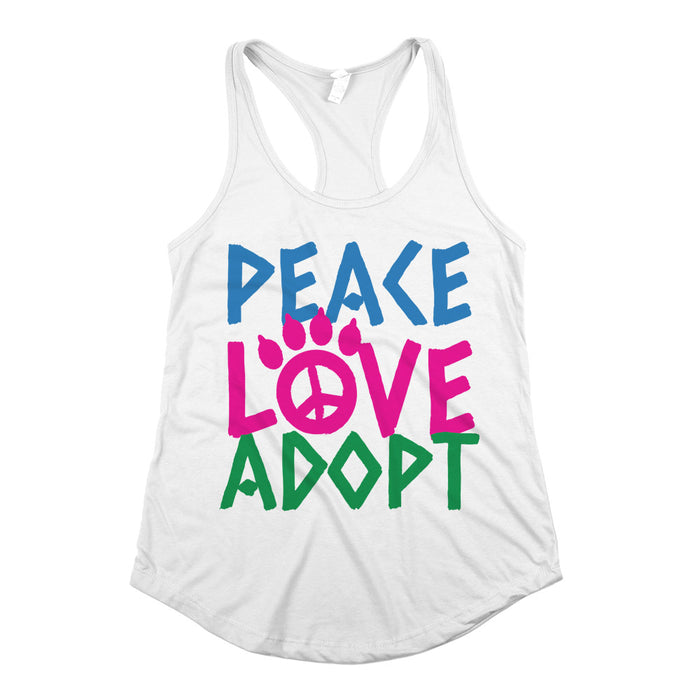 Peace Love Adopt Womens Racerback Tank Top White