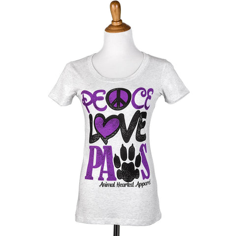 Peace Love Paws Womens Tee Ash Grey