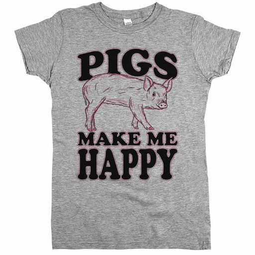 Pigs Make Me Happy Womens JR Slim Fit Tee Athletic Grey