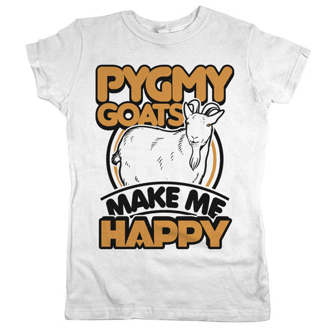Pygmy Goats Make Me Happy Womens JR Slim Fit Tee White