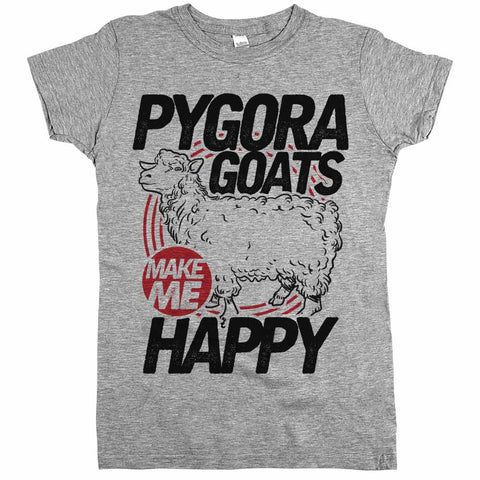 Pygora Goats Make Me Happy Womens JR Slim Fit Tee Athletic Grey
