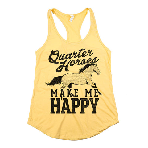 Quarter Horses Make Me Happy Womens Racerback Tank Top Yellow