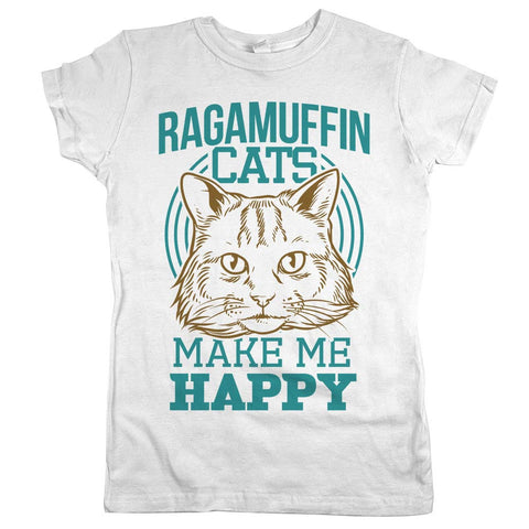 Ragamuffin Cats Make Me Happy Womens JR Slim Fit Tee White