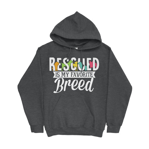Rescued Is My Favorite Breed Hoodie Grey