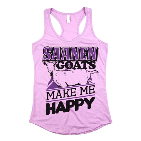 Saanen Goats Make Me Happy Womens Racerback Tank Top Light Orchid