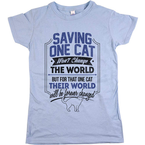 Saving One Cat Womens Tee Baby Blue