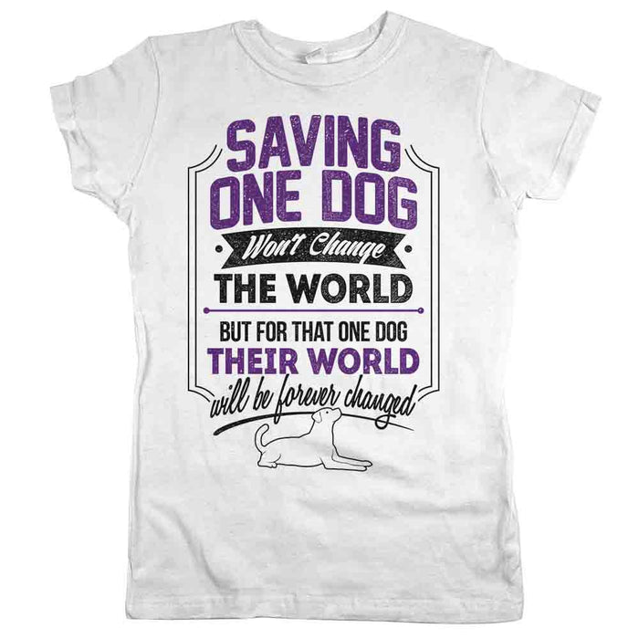 Saving One Dog Womens JR Fit Tee White