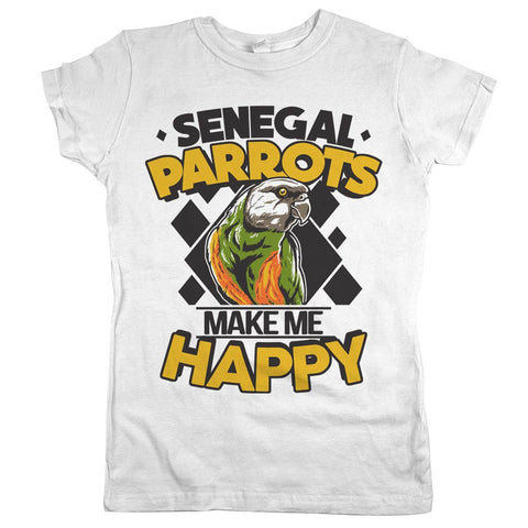 Sengal Parrots Make Me Happy Womens Shirt White