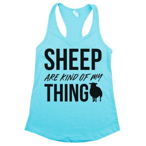 Sheep Are Kind Of My Thing Racerback Tank Top Aqua Womens