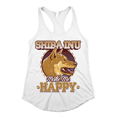 Shiba Inu Make Me Happy Womens Racerback Tank Top White