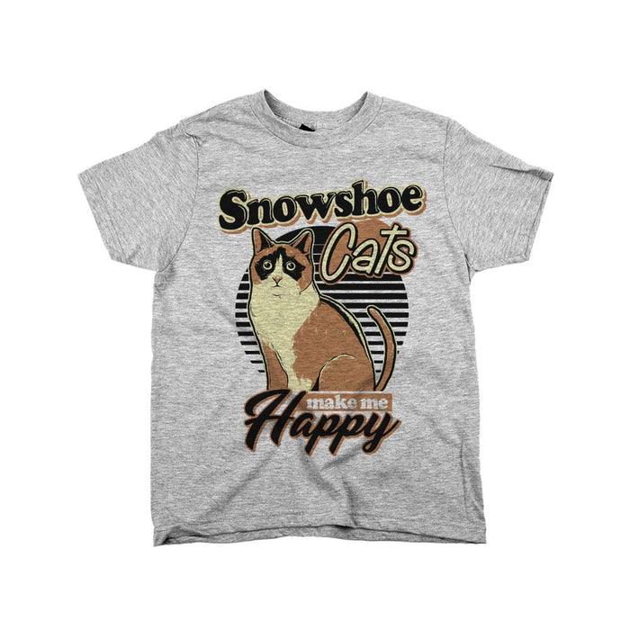 Snowshoe Cats Make Me Happy Kids YOUTH Tee Athletic Grey