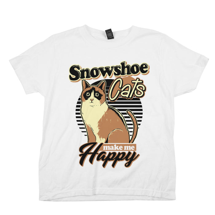 Snowshoe Cats Make Me Happy Kids YOUTH Tee White