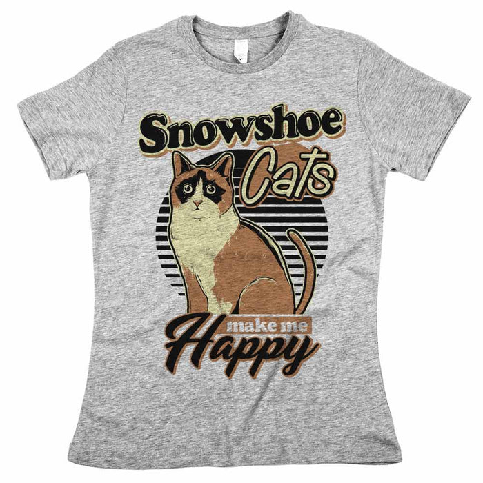 Snowshoe Cats Make Me Happy Womens CLASSIC Fit Tee Athletic Grey