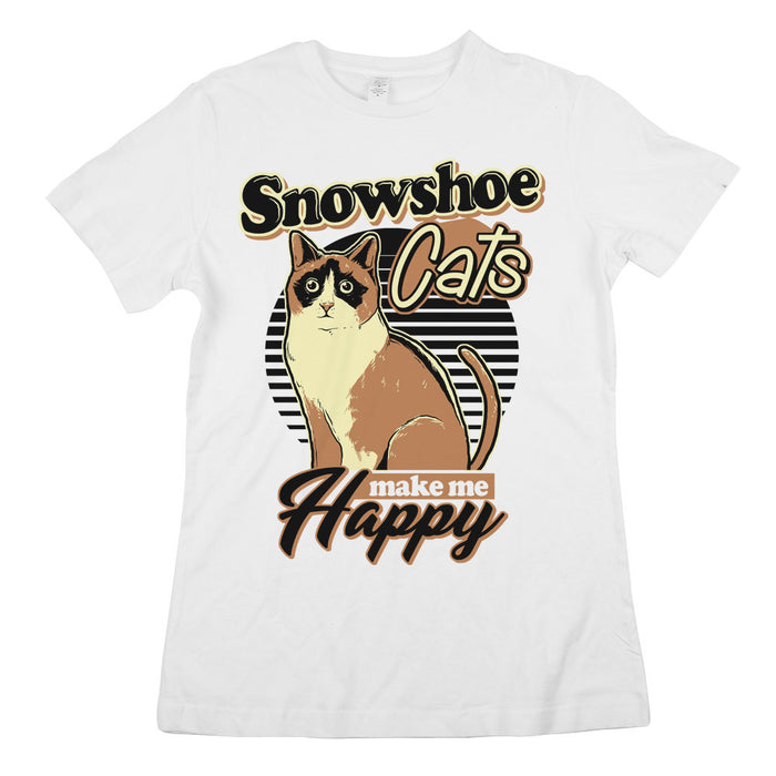 Snowshoe Cats Make Me Happy Womens CLASSIC Fit Tee White