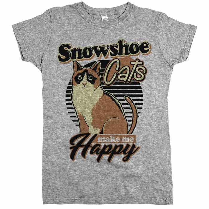 Snowshoe Cats Make Me Happy Womens JR Slim Fit Tee Athletic Grey
