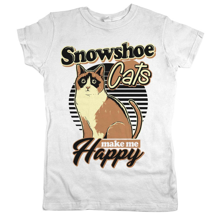 Snowshoe Cats Make Me Happy Womens JR Slim Fit Tee White