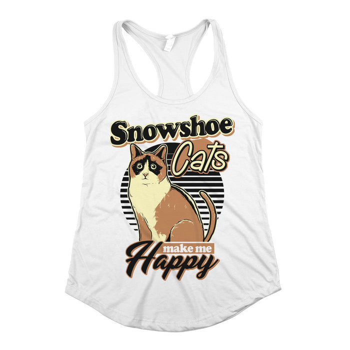 Snowshoe Cats Make Me Happy Womens Racerback Tank Top White