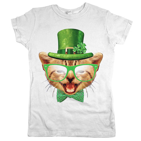 St. Patrick's Day Cat Womens Shirt White