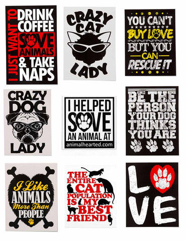 'Animal Hearted Stickers'