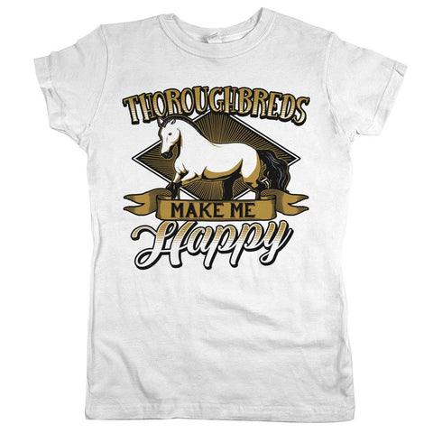 Thoroughbreds Make Me Happy Womens JR Slim Fit Tee White