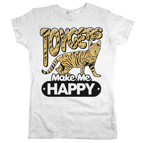 Toygers Make Me Happy Womens JR Slim Fit Tee White