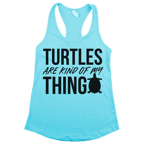 Turtles Are Kind of My Thing Racerback Tank Top Aqua Womens