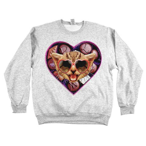 Valentine Cat Unisex Sweatshirt Ash Grey