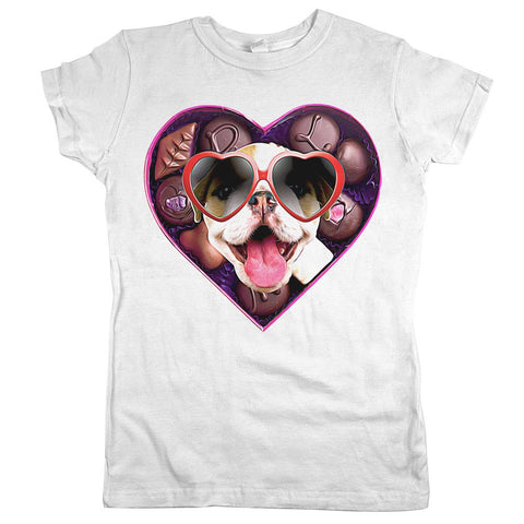Valentine Dog Womens Shirt White